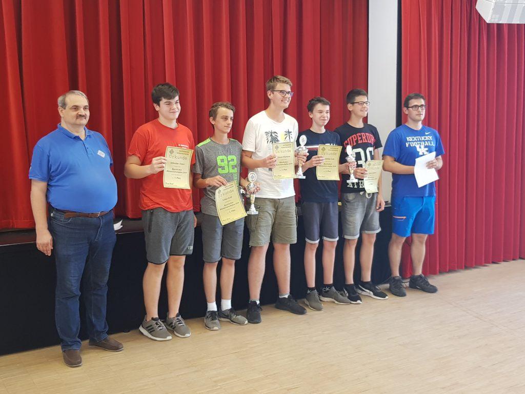 Siegerfoto der U16: Tobias Kolb (dritter von links), Lukas Köhler (zweiter von rechts)
